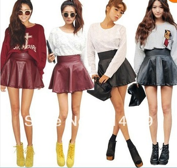 Pu Faux Leather Look Flared Mini High Waist Skater Party Skirts ...