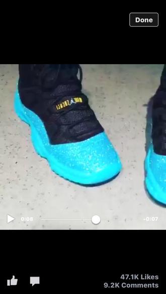 shoes jordans blue glitter