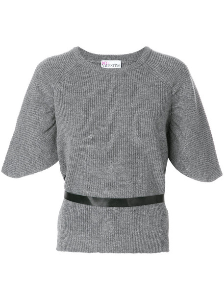 RED VALENTINO jumper short women cotton wool grey sweater