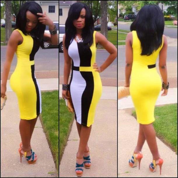 dress black yellow white bodycon dress midi dress