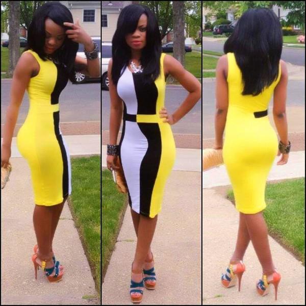 dress black yellow white bodycon dress midi dress sleeveless dress bodycon bodycon dress multicolor blouse shoes