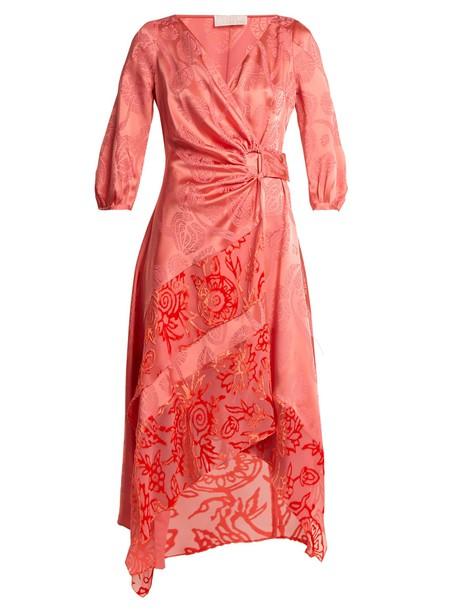 dress wrap dress jacquard floral satin pink