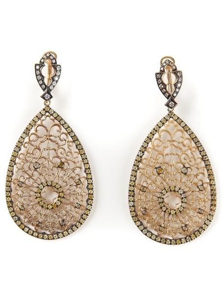 Loree Rodkin women earrings gold grey metallic jewels