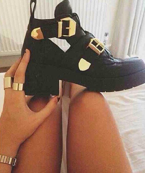 shoes black boots gold gold buckles heel