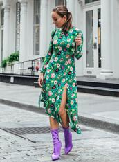 sydne summer's fashion reviews & style tips,blogger,dress,shoes,socks,sock boots,green dress,fall outfits