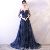 dress,starry sky dress,long navy blue dress,beautiful,girl,evening dress,long dress,a line dress,sweep train dresses,formal dress,rhinestones dress,tulle dress