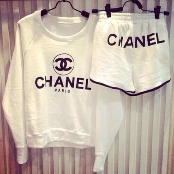 top logo chanel sweater shorts sweater chanel white chanel