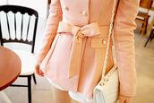 jacket,winter coat,coat,bag,pink jacket,bow jacket