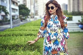 blogger dress jewels sunglasses bag shoes