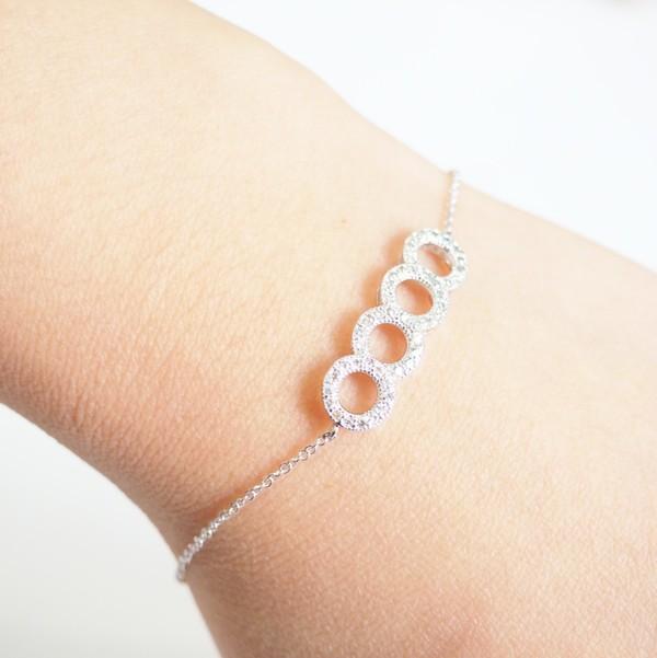 Silver Circle Crystal Bracelet Simple Vintage Bracelet Elegant