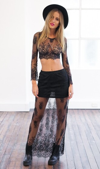 top summah breeeze lace mesh net net top lace top lace skirt black skirt set black skirt set two-piece mesh skirt