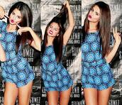 dress,blue print playsuit,meet and greet,jumpuit,romper,selena gomez,jumpuits