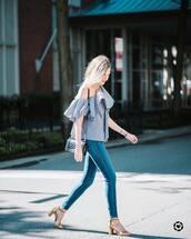 top,tumblr,off the shoulder,off the shoulder top,gingham,denim,jeans,blue jeans,skinny jeans,sandals,sandal heels,high heel sandals,bag,shoes