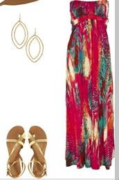 dress,clothes,maxi dress,summer dress,summer outfits,jewels,hat,summer maxi dress,colorful,bright,multi colored dress,whole outfit..