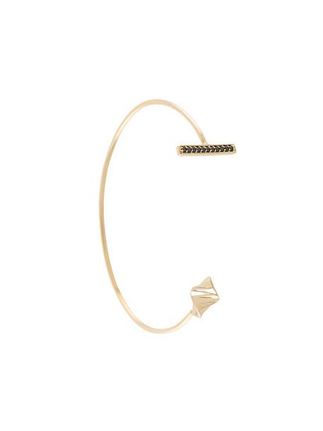 S/H Koh cuff open women gold grey metallic jewels