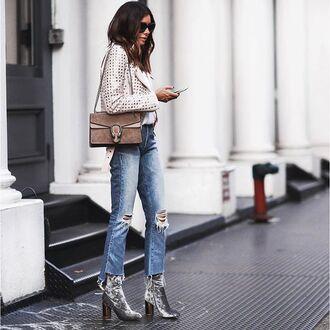 shoes tumblr white jacket studded jacket studs bag brown bag gucci gucci bag dionysus denim jeans blue jeans ripped jeans velvet velvet boots velvet shoes silver silver ankle boots