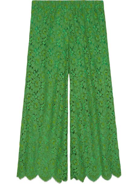 gucci women lace cotton green pants