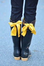 shoes,rain boots fringe,bow shoes