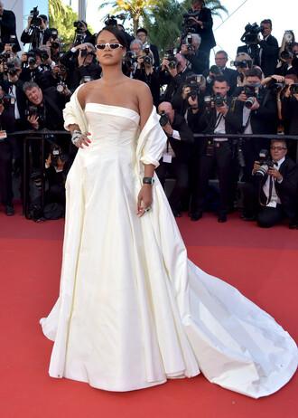dress long dress long prom dress red carpet dress strapless gown prom dress sunglasses cannes rihanna