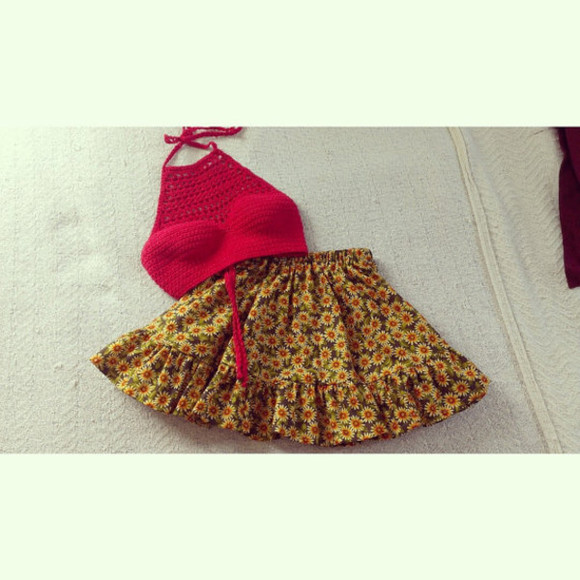 frills skirt etsy etsy skirt daisy daisies daisy skirt orange flowers red crop tops sunflower sunflower skirt cute crochet crochet crop top daisys sunflowers pretty