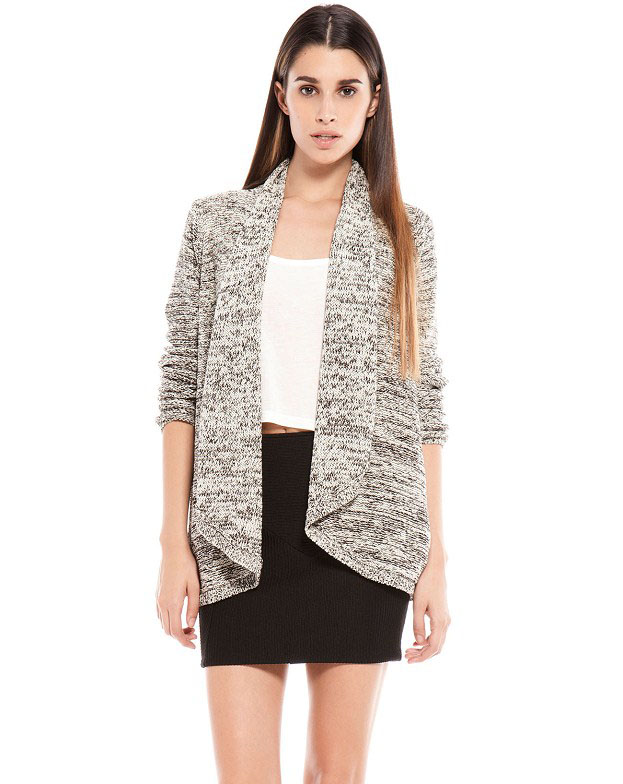 Grey Long Sleeve Loose Knit Cardigan - Sheinside.com