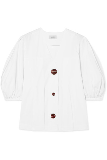 ISA ARFEN top pleated white cotton