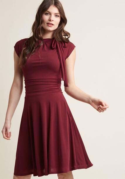 MDD1155 dress burgundy dress bow retro dance pretty burgundy red