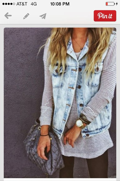jacket denim vest denim vest jean jacket, striped shirt,