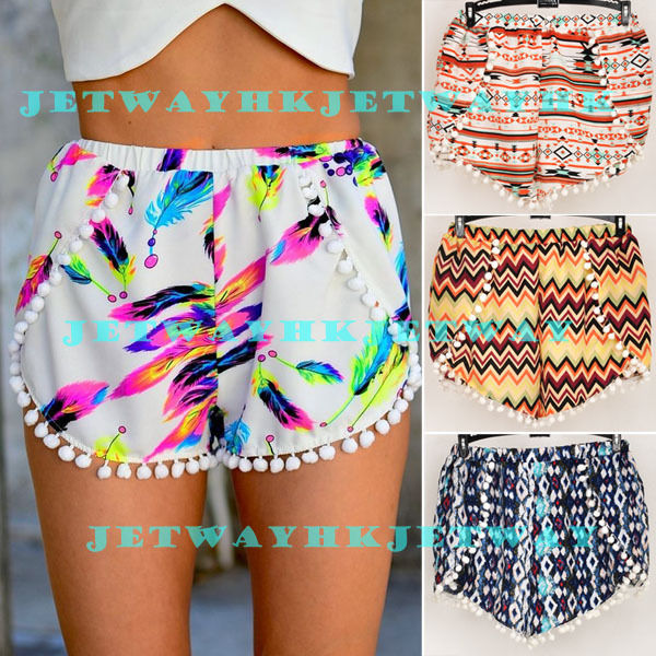 Pom Pom High Waisted Tassel Festival Tribal Print Beach Casual Gym Shorts s M L | eBay