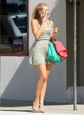 tank top,serena van der woodsen,stripes,sequins,shoes,shirt,skirt