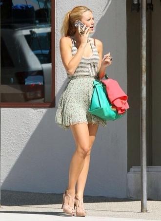 tank top serena van der woodsen stripes sequins shoes shirt skirt
