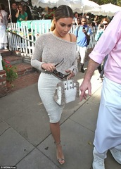 top,kim kardashian,mesh,off the shoulder,jumper,mesh-paneled,celebrity style,pencil skirt
