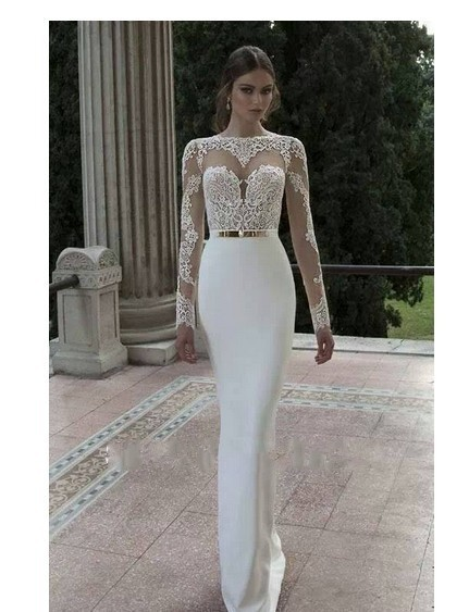 Buy vintage sheer lace long sleeves open for Aliexpress mermaid wedding dresses