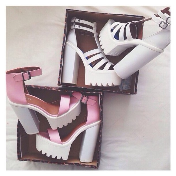 pink shoes white shoes cleated sole cleated sole platforms high heels pink  high heels grunge accessory e76bbf2975