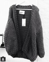 sweater,charcoal,oversized,cardigan,chunky knit