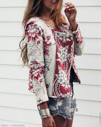blouse veste fleurie