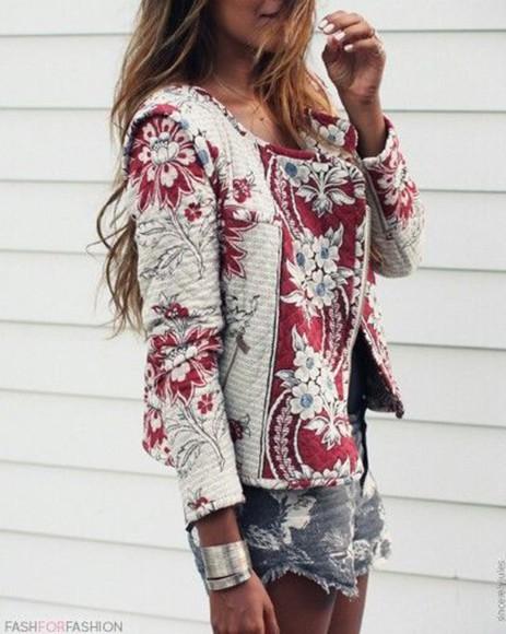 veste blouse fleurie