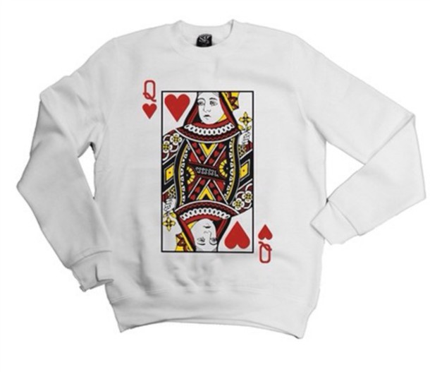 sweater tumblr cards queen of hearts cute white red sweatshirt heart heart love
