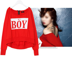 New HYUNA Bubble Pop! BOY Loose Zipper Back Sweatshirt Crew Neck Red KPOP  ($42.00) - Svpply
