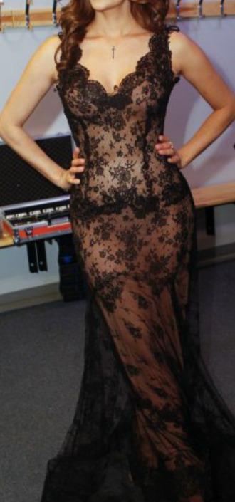 dress black black dress lace black lace sexy lace dress gown long dress