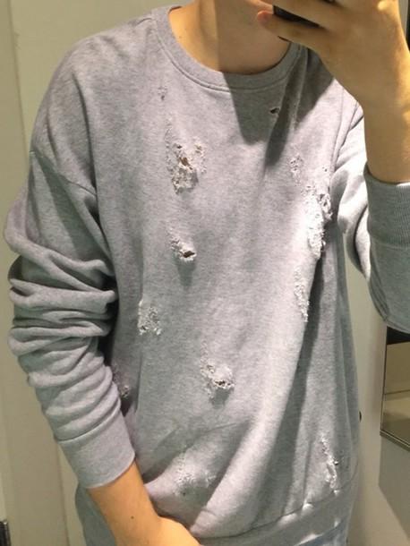 sweater grey ripped sweatshirt