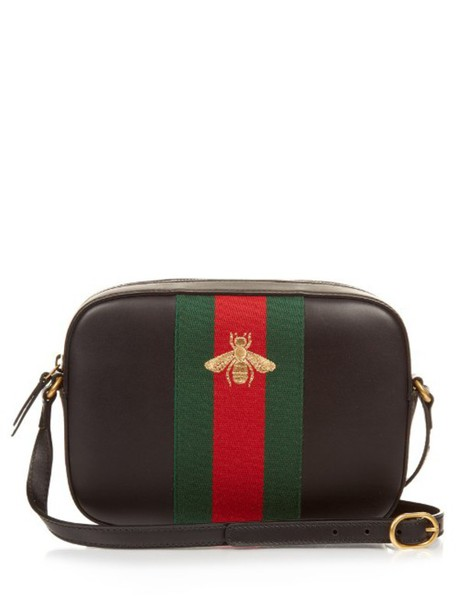 ccadf8302 gucci GUCCI Bee-embroidered leather cross-body bag in black / multi