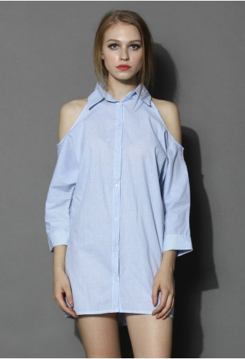 Cutout Shoulder Blue Striped Shirt Dress - Retro, Indie and Unique Fashion