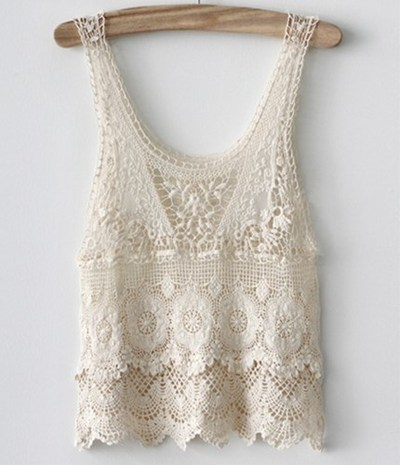 Lace crochet top beige · whitelily fashion · online store powered by storenvy