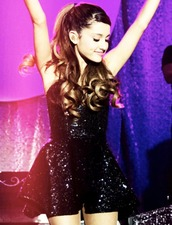 dress,ariana grande,sequins,black,sparkle,skater dress