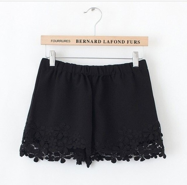 shorts crochet shorts black shorts