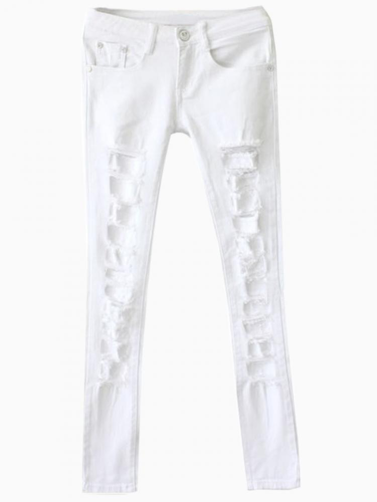 White skinny jeans with distressing