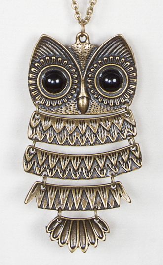 jewels silver necklace owl