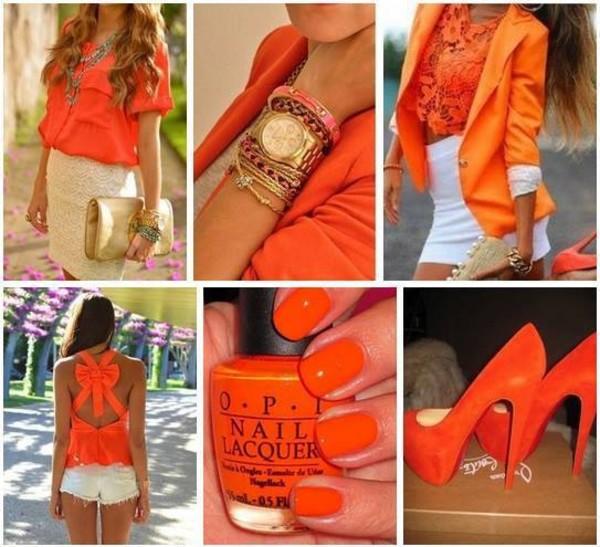 t-shirt orange bow jewels coat shorts nail polish