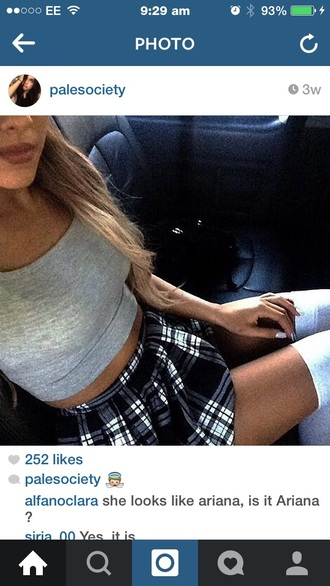 skirt skater skirt ariana grande black&white black skirt white skirt white cute skirts shirt tank top